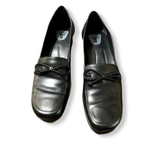 Trotters Loafers Womens 9N Black Braided Bow 1 1/2